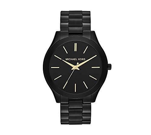 Michael Kors Men's Mid-Size Black IP Slim Runway Three-Hand Watch
