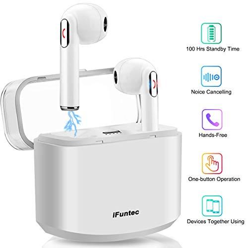 Wireless Earbuds Stereo Bluetooth Headphones with Charging Case Mini in-Ear Earphones Built-in Mic Noise Canceling Sweatproof Sports Wireless Headphone Bluetooth Earbud