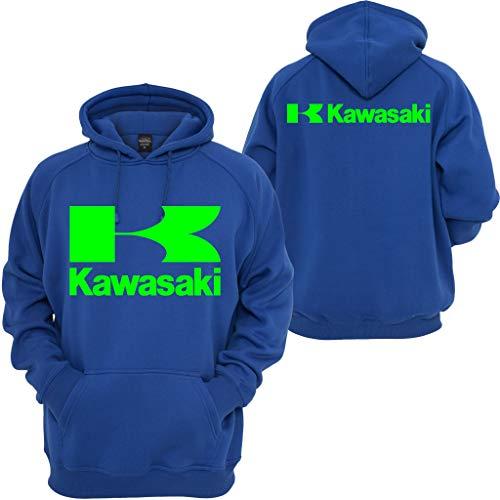 Kawasaki Race - Kawasaki Racing Pullover Hoodie Sport Ninja Bike JDM Turbo Motocross Hooded Sweatshirt Blue
