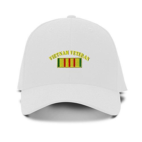 White Structured Adjustable Hat (Vietnam Veteran Flag Military Embroidery Adjustable Structured Baseball Hat White)