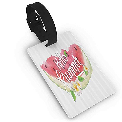 Tags Portable Label Watercolor Decor,Hello Summer Motivational Quote with Fresh Watermelon and Poppies Picture,Pink Mint - Poppy Syracuse