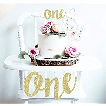 8b5cea0dc88 1st First Birthday Decoration Set One High Chair Banner and One Cake Topper  (Gold)