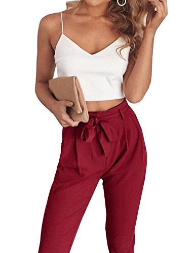 Clothes 2 Western Piece (FANCYINN Women 2 Pieces Set Spaghetti Strap Top and Bodycon Long Pant with Belt Wine Red S)