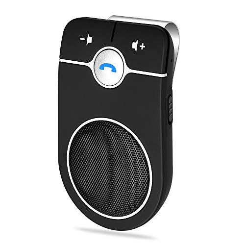 Bluetooth Hands Free Speakerphone, Aigital Upgraded Bluetooth Car Kit AUTO Power ON Speaker for Cell Phone, Wireless Visor-Clip Music Player with Built-in Mic for Hands-Free Talking