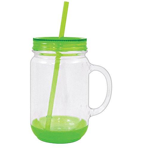 Mason Jar with Lid Plastic Tumbler Drinking Cup Mug with Straw 18 oz (Green) -  Rockin Gear