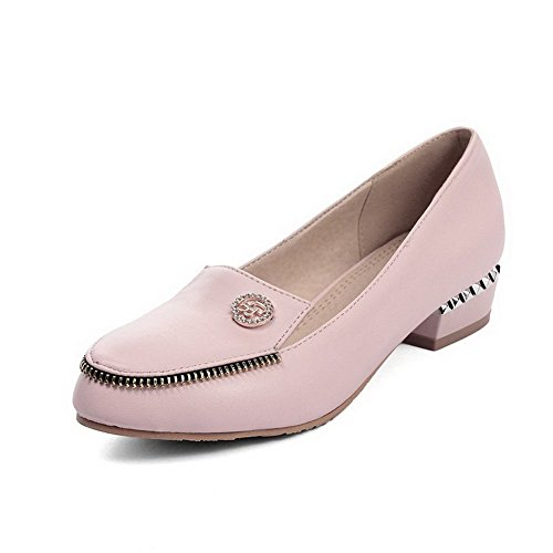 Odomolor Women's Pull On Pu Round Closed Toe Low Heels Solid Pumps-Shoes Pink Au7UP6hsjo