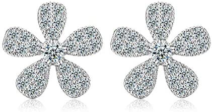 N/V estilo americano europeo moda llena diamante flor trébol zircon pendientes