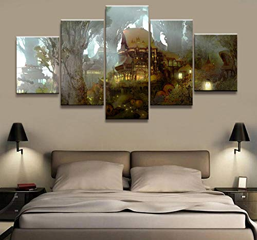 HNFSCLUB 5 Pieces Super Online APP Game Scene Poster Wall Art Modern Decorative Frame Modular Picture Canvas HD Printed Painting-FrameC (Best Dota 2 App)