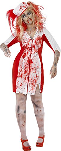 Smiffy's Women's Curves Zombie Nurse Costume, Dress and Headpiece, Zombie Alley, Halloween, Plus Size 26-28, 44340 (Halloween Costume Nurse)