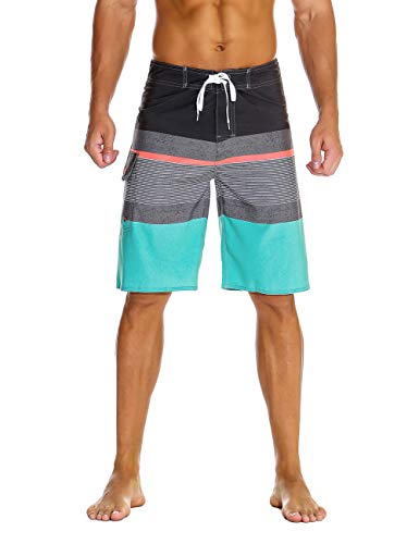 88a51d5efa Unitop Men's Bathing Board Trunks Beach Shorts Holiday Hawaiian Colorful  Striped