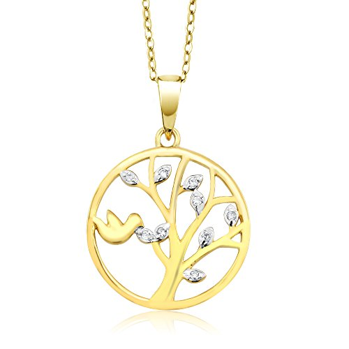 Gem Stone King 18K Yellow Gold Plated 925 Sterling Silver Dove Tree Of Life White Diamond Pendant Necklace with 18 Inch ()