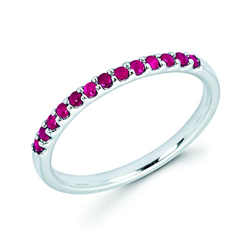 14K White Gold 1/4 Cttw Genuine Ruby Stackable 2MM Wedding Anniversary Band Ring - July Birthstone, Size 5.5