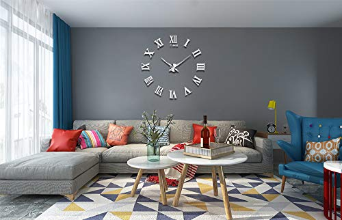 Vangold Large 3D DIY Wall Clock, 2-Year Warranty Roman Numerals Clock Frameless Mirror Surface Wall Clock Home Decor for Living Room Bedroom by Vangold (Image #3)
