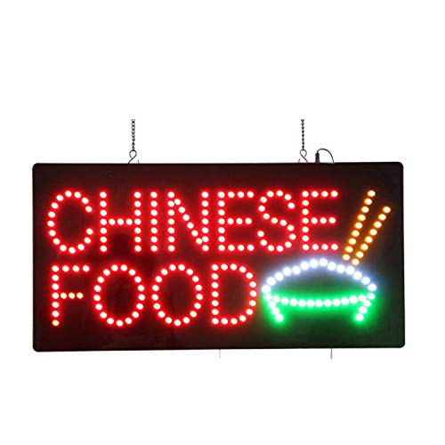LED Chinese Food Open Light Sign Super Bright Electric Advertising Display Board for Asian Specialty Bistro Restaurant Business Shop Store Window Bedroom Decor 24 x 12 inches ()