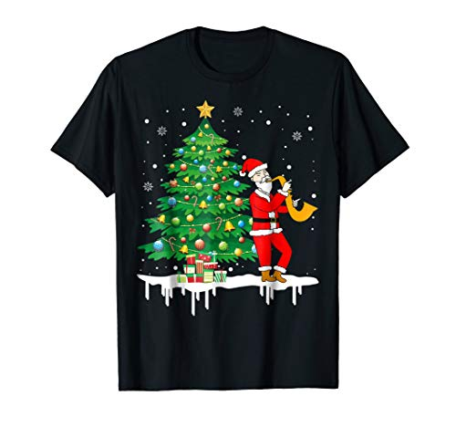 Santa Claus Playing Saxophone Funny Cool T-Shirt Gift