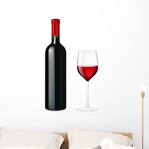 Wallmonkeys Bottle Red Wine with Wall Decal Peel and Stick Graphic (36 in H x 29 in W) WM170195 ()