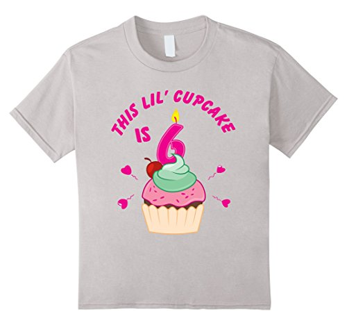 Kids 6th Birthday Girls Cupcake T-Shirt Party 6 Year Old ...