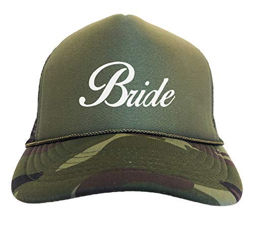 Tcombo Bride - Birdal Party Wedding Married Camoflauge Trucker Hat (Woodland Camo)