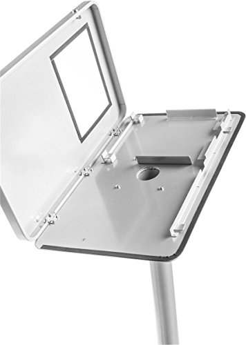 Displays2go Stand for Floor, Ledge for Speaker's Notes, Hinged Enclosure for iPad 2-4 and Air, Aluminum and Steel, Silver (IPPDKT4DSV) by Displays2go (Image #2)
