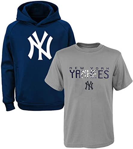 MLB Youth 8-20 Polyester Performance Primary Logo Pullover Sweatshirt Hoodie & T-Shirt 2 Pack Set