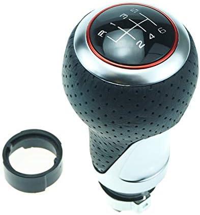 Schaltknauf Schalthebel Leder Chrom 12 13 Mm Durchmesser 6 Gang Roter Ring Silber Ring Auto