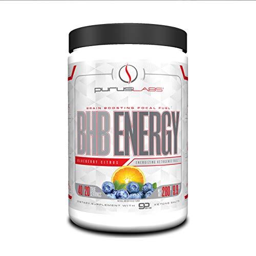 BHB Energy by Purus Labs | Beta-Hydroxybutyrate (BHB) Salts Exogenous Ketones Supplement | Blueberry Citrus (40 Servings)