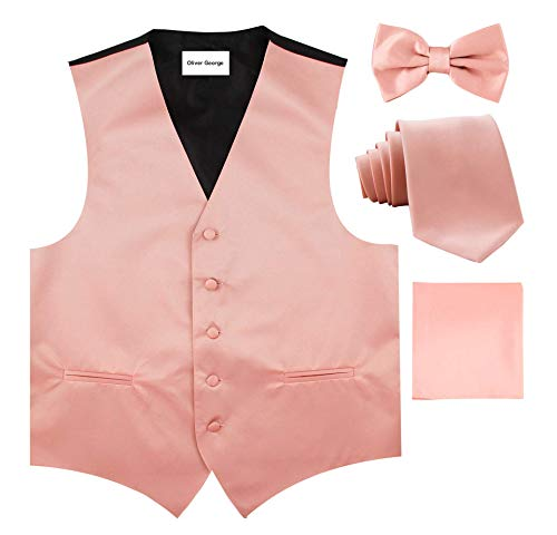 Oliver George Solid Vest Set-#50-P-Peach-3XL