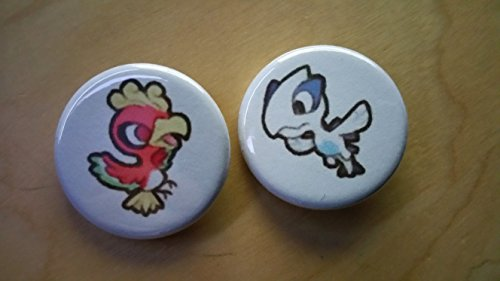 5x Pokemon Collectible 1'' inch Buttons - Lugia and Ho-Oh Evolution Set - Custom Made - Pin Back - Gift Party Favor by Legacy Pin Collection