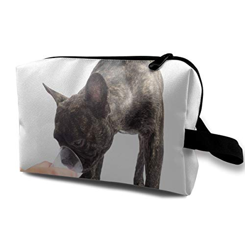SUNGTER French Bulldogs Drinks A Water of A Glass. On White Background Travel Cosmetic Bag for Women Or -