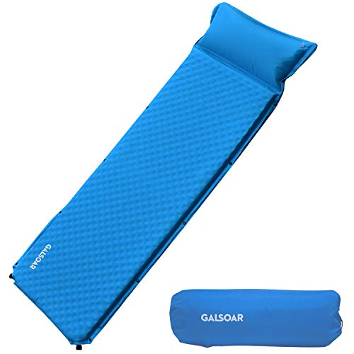 Galsoar Self Inflating Sleeping Pad, Compact Foam Camping Mat with Portable Pillow, Waterproof and Lightweight, Thick 2 Inches Perfect for Camping, Hiking, Backpacking and Family Traveling