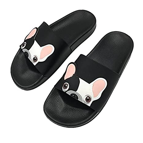 Blue Stones Cute Dog Women Slides 2018 Fashion Pu Leather Beach Shoes Women Flat Heels Flip