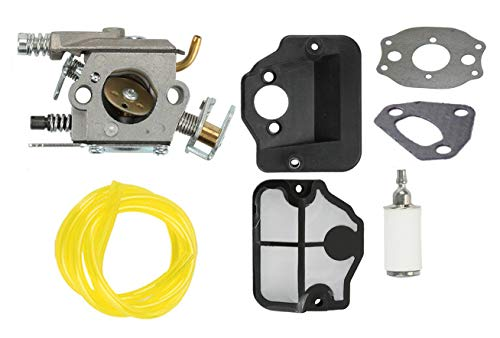 Podoy 530071987 Carburetor for Husqvarna 141 142 136 137 Chainsaw 530071987 with Air Filter Fuel Filter Fuel Line 141 137 141 Chainsaw Parts Walbro WT-834 WT-657 WT-529 WT-289 WT-285 WT-239