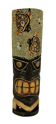 Things2Die4 Hand Carved Wood Tiki Mask Sand and Sea Turtles Island Art Wall Hanging