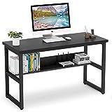 Vordern Computer Desk with Bookshelf Works as Office Desk Study Table Workstation for Home Office (Black)