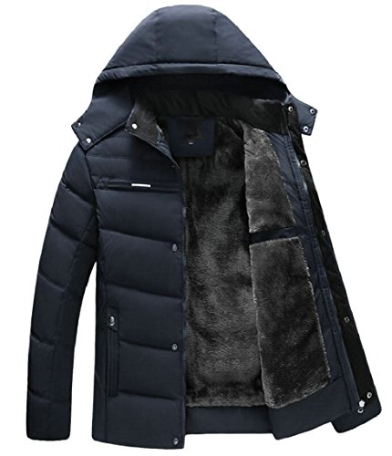 security Men's Winter Removable Hood Fur-Lined Full Zip Parka Jacket Coat 1