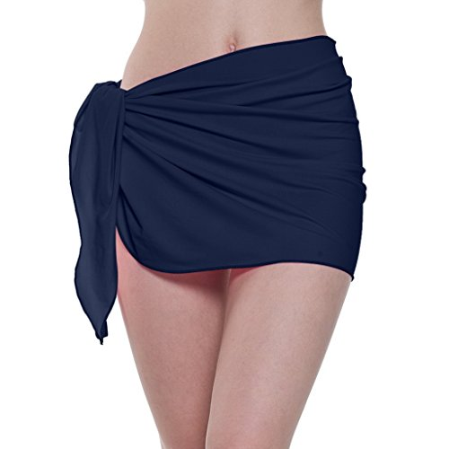 ChinFun Women's Soft Nylon Spandex Sarong Wrap Beach Swimwear Short Style Cover Up Pareo Swimsuit Wrap Solid Colors Navy ()
