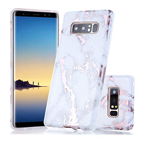 Galaxy Note 8 Case, Shiny Rose Gold White Marble Design, BAISRKE Clear Bumper Matte TPU Soft Rubber Silicone Cover Phone Case for Samsung Galaxy Note 8 (2017)