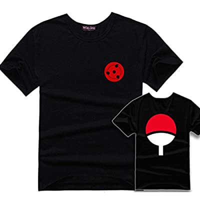 Pulle-A Naruto Kakashi Sasuke Triple Sharingan Costume Uchiha Clan Badge T-Shirt