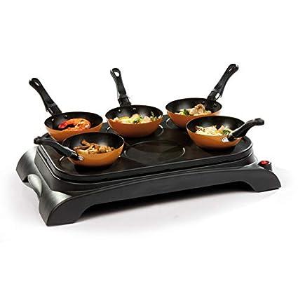 WOK - Plancha eléctrica para wok y para hacer tortitas (con 6 sartenes para wok