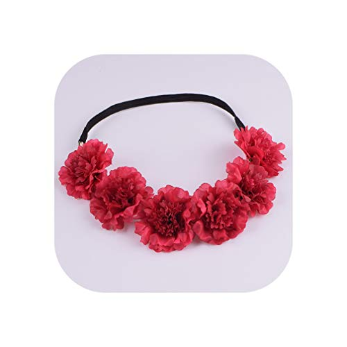 Girl Women Handmade Gradient Carnation Flower Wreath Crown Garland Halo Festival Hair Headband Headpiece Floral,3