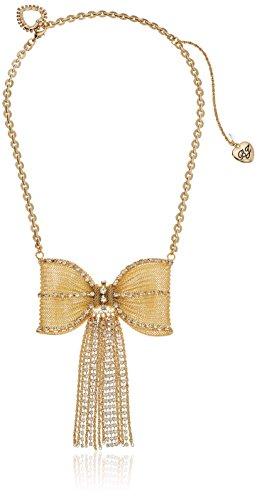 Gold Tone Mesh Bow (Betsey Johnson Large Mesh Crystal Bow Fringe Necklace)