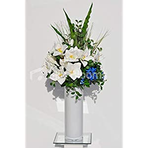 Silk Blooms Ltd Artificial White Fresh Touch Amaryllis and Blue Orchid Flower Arrangement w/Foliage and White Vase 32
