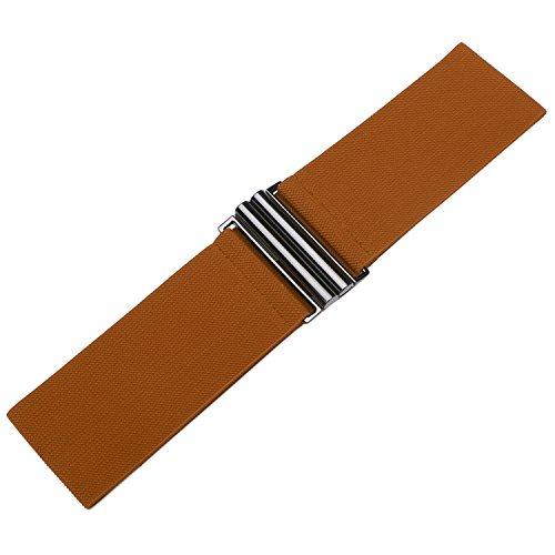 "Syuer Womens Wide Elastic Waist Belt Cinch Belt Trimmer Stretch Waistband (L-XL (30""-36""), Brown (Black Buckle))"