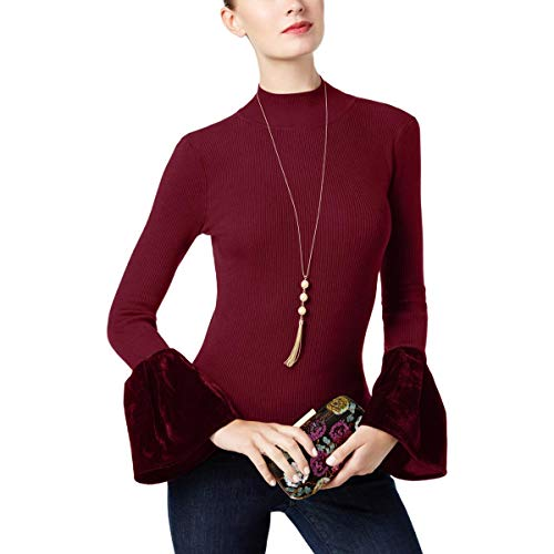 INC Womens Rib Knit Velvet Mock Turtleneck Sweater Red M ()