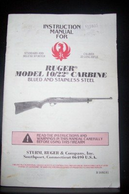 Ruger Sturm (INSTRUCTION MANUAL FOR RUGER MODEL 10/22 CARBINE)