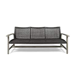 Garden and Outdoor Great Deal Furniture Marcia Outdoor Wood and Wicker Sofa, Light Gray Finish with Mix Black Wicker outdoor lounge furniture