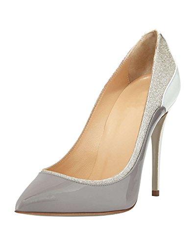 DYF Zapatos de mujer de tacón alto fino afilado boca superficial de gran tamaño en color Bump Grey
