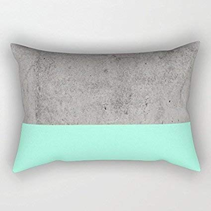 Amazoncom Bhuia Gray And Mint 2 Tone Rectangle Throw Pillow Covers