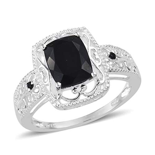 925 Sterling Silver Black Tourmaline Black Spinel Statement Ring for Women Jewelry Gift Size 10 Cttw 2.5