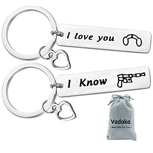 Couple Keychain Set,Couple Gifts for Boyfriend and Girlfriend,I Love You I Know Keychain Set Couple Keychain for Husband Wife Valentine's Day Birthday Gifts for Him and Her(2 Pack)]()